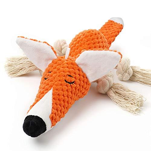 Sedioso Plüsch-Hundespielzeug, interaktiv, gefüllter Fuchs, Hundespielzeug gegen Langeweile, Kauspielzeug, niedliches quietschendes Hundespielzeug für Welpen, kleine, mittelgroße und große Rassen