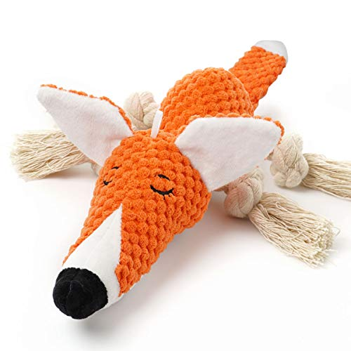Sedioso Plush Dog ToyInteractive Stuffed Fox Dog Toys for BoredomCute Squeaky Dog Chew Toys for PuppySmallMediumLarge Breed