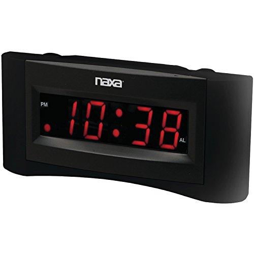 naxa electronics projection alarm clocks NAXA Electronics NRC-165 Easy-Read Dual Alarm Clock with Built-in USB Device Charger (Black)