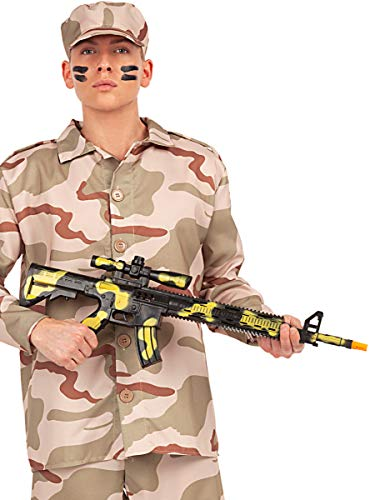 Funidelia | Metralleta de Camuflaje para Hombre y Mujer Militar, Soldado, Profesiones, Camuflaje - Negro, Accesorio para Disfraz