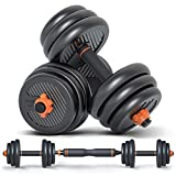 Adjustable Dumbbell Set and Home Gym Equipment, Weights Exercise Equipment Up to 44 lbs. Barbell Set Weight Plates and Handle Grips for Muscle Building Upper Back, Arm and Body Workouts