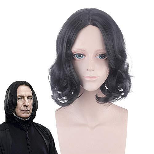 AMITD Film Severus Snape Schwarze Perücke Cosplay Professor Snape Lockige Perücke Halloween Rollenspiel Kostüme Perücken + Perückenmütze