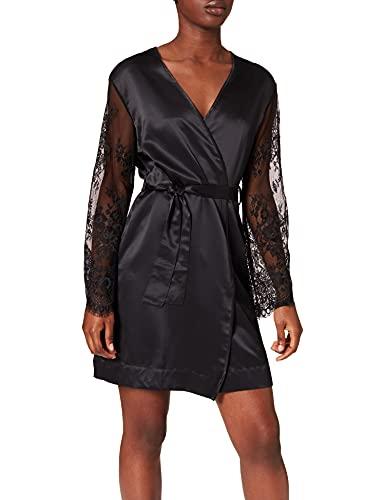 Lovable Ivory Bridal Night Bata, Negro, L/XL para Mujer