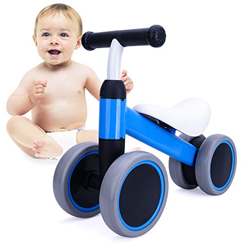 Baby Balance Bike, Ride on Toys for 1-2 Year Old, Best Cool Birthday Gifts for Boy and Girl, Christmas Kids Tricycle Blue
