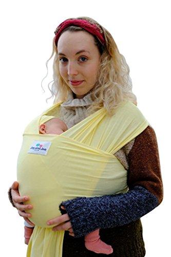Bambou bébé Sling | fabriqué au Royaume-Uni par Joy et Joe® | Bambou Coton élasthanne | Bio extensible Wrap Carrier | UK/EU Sécurité contrôlée | Livré dans une boîte avec chapeau, Sac et + livret explicatif (Jaune pastel)