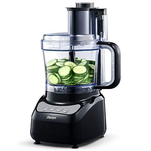 Küchenmaschine, Decen 2L Food Processor, 4 Geschwindigkeit 16 Funktionen Elektrische Reibe, Fleisch Zerkleinerer inkl Knethaken, Gemüse Elektrisch und Umrühren, Hacken, Schneiden, Würfeln, Kneten