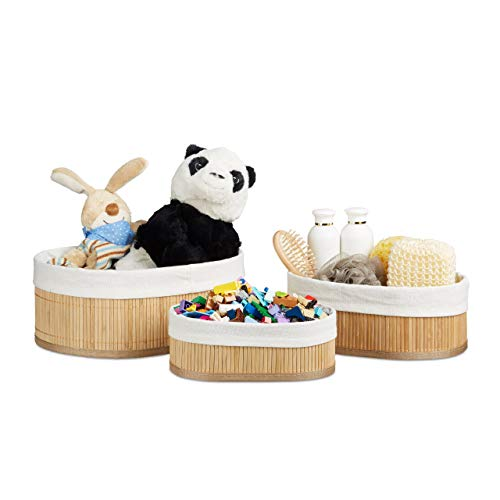 Relaxdays Regalkorb Set Bambus oval, 3 runde Aufbewahrungsboxen 12,5 x 32 x 22 cm HxBxT für Regal und Schrank, Natur