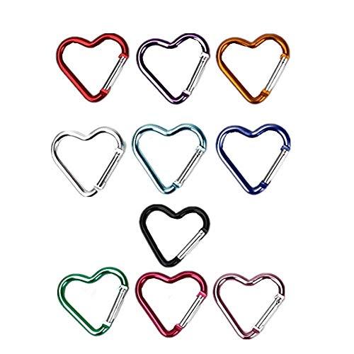 XIZHI 10 Stks Hartvormige Aluminium Sleutelhanger Clip Karabijnhaak Houder voor Bagage, Speelgoed, Snelhangend, Sleutelring, Etc