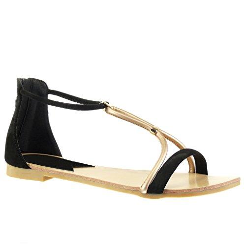 Angkorly - Chaussure Mode Sandale salomés Femme lanière Talon Bloc 1 CM - Noir Champagne - 117-6 T 41