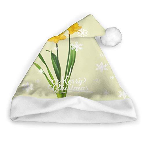 zsxaaasdf Gelbe Frühlings-Narzissen - Narzissen-Schablonen-Weihnachtsmütze, Weihnachtsmütze, Weihnachtsfeiertagshut für Erwachsene
