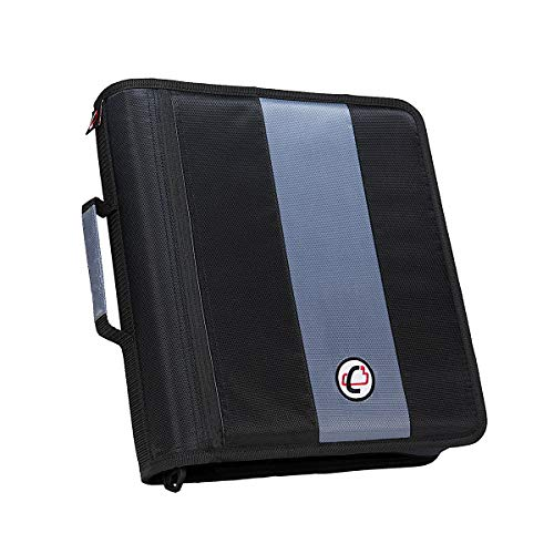 Case-It 2-Inch Ring Zipper Binder, 5 - color tabbed expanding file, Black