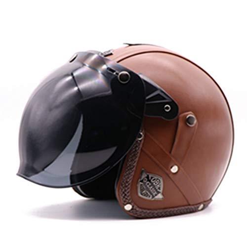Vintage Motorradhelme Jethelm Cruiser Chopper Scooter Racer Moto Helm 3/4 Jethelm Bubble Visier DOT Approved