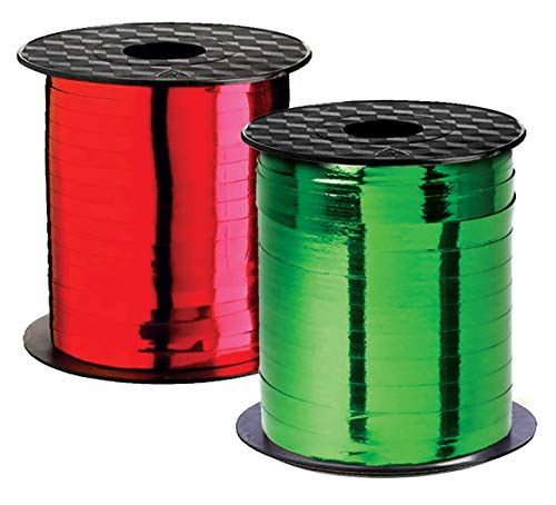 Curly Ribbon Christmas Ribbons Curling Ribbon Holiday Thin Metallic Red & Green Set Crimped Iridescent for Gift Wrap, Holiday Party Decoration, Gift Wrapping Presents Holidays Discount Sale