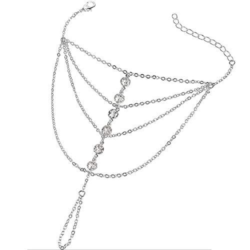 Suyi Finger Ring Bracelet Hand Harness Chain Bracelet Rhinestone Gifts for Women Girls Silver 10CM/3.9IN