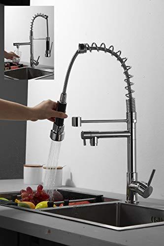 Küchenarmatur mit Spiralfeder, Chrom Wasserhahn und Brause ausziehbar, 360° schwenkbar Einhebel Mischbatterie & Pull-Down-Spray, Hochdruck Spültischarmatur mit Schutzstahlspule