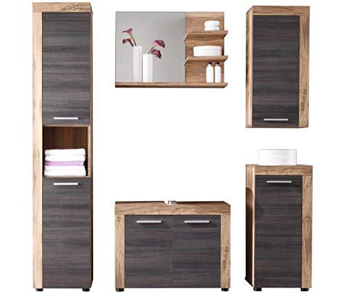 trendteam smart living Badezimmer 5-teilige Set Kombination Cancun Boom, 175 x 184 x 34 cm in Nussbaum Satin (Nb.) mit viel Stauraum
