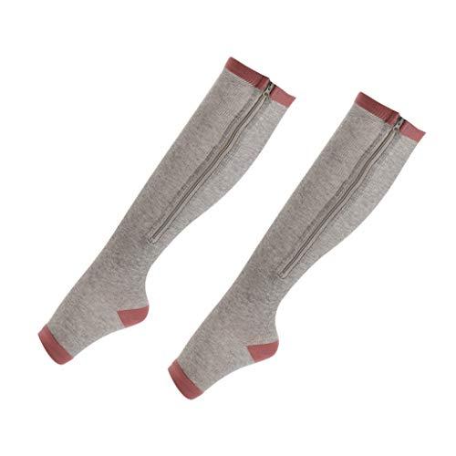 freneci Mujer Hombre Calcetines de Compresión Calcetines Largos con Cremallera Calcetín - Gris, XXL