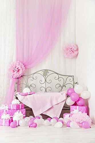 5x7ft Vinyl Digitale Binnen Roze Gordijn Bed Ballon Fotografie Studio Backdrop Prop Achtergrond