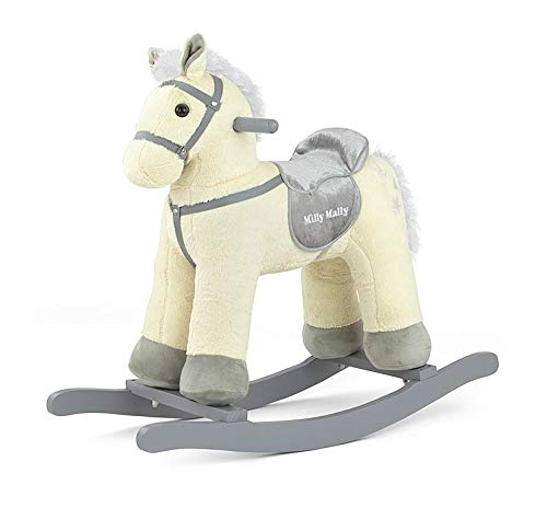 PEPE Morbido cavallo a dondolo peluche animale a dondolo giocattolo a dondolo in 5 colori con effetti sonori per bambini piccoli (3-5 anni):, Model:Beige