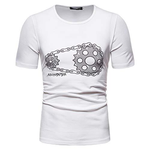 Whittie Équipement d'été t-Shirt chaîne de Mode Hommes col Rond Chemise à Manches Courtes,White,3XL