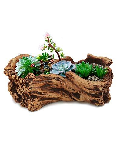 Dahlia Driftwood Stump Log Concrete Planter/Succulent Pot/Plant Pot, 10.4L X 6.7W