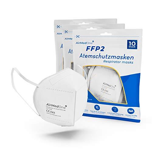 AirMedOne FFP2 Maske, Atemschutzmaske mit offiziellem Zertifikat CE2163 [30 Stück] Mundschutz Maske 5-lagig 3D Gesichtsmaske