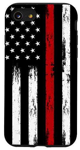 iPhone SE (2020) / 7 / 8 Fireman USA Flag Phone Case Thin Red Line US Firefighter Case