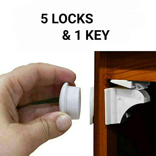 Eco-Baby Magnetic Cabinet Locks Child Safety for Drawers and Cabinets - Kitchen Child Proof Cabinet Locks - Baby Proofing Safety (5 Locks & 1 Key)