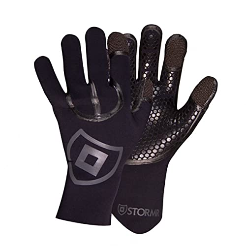 Stormr Typhoon Mens and Womens Durable Yet Comfortable Fishing Glove with High Stretch Premium Micro-fleece Lined 3MM Neoprene: Best Used for Ice Fishing, Winter Conditions, and Foul Weather, Kevlar Black, M