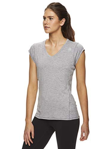 Reebok Women's Cap Sleeve Gym & Workout T-Shirt - Performance V-Neck Athletic Running Top - Quietshade Heather Perfect, Small