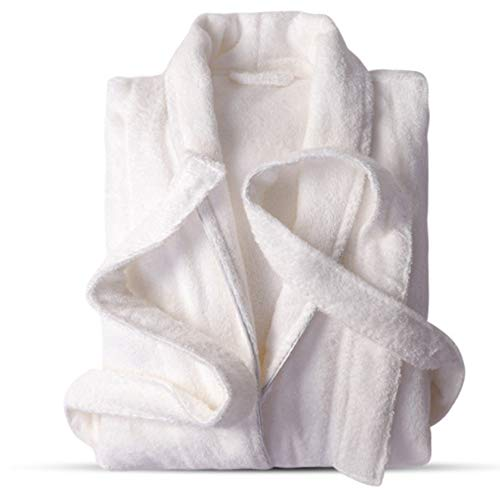 LITHAPP Unisex 100% Lujoso AlgodóN Egipcio SúPer Suave Toalla De BañO Bata Bata Albornoz Toalla Servicio A Domicilio Pijamas Ropa Casual con Bolsillos Y Cinturones,White-XL