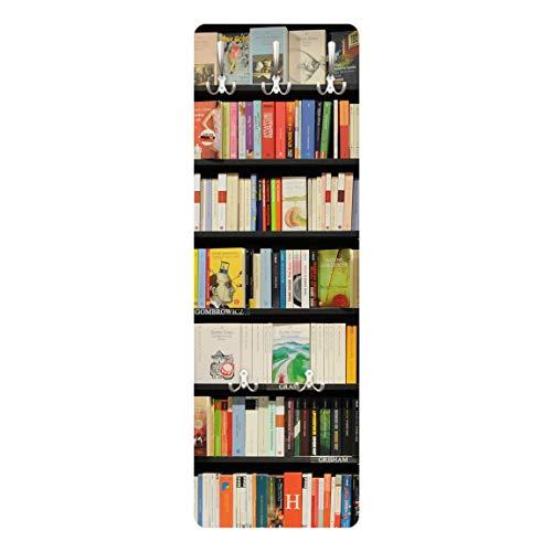 Bilderwelten Appendiabiti - Appassionati di libri - Appendiabiti design, attaccapanni, appendiabiti da parete, attaccapanni a muro, pannello appendiabiti in legno, appendiabiti da muro, appendiabiti moderni, Dimensione: 139cm x 46cm