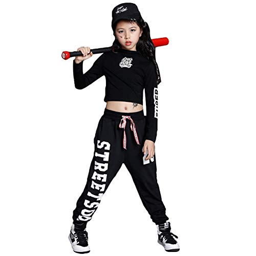 Kids Girls' Dance Outfit Hip Hop Costume Long Sleeve Pullover Tops Sweatpants Clothing Set