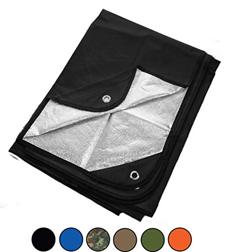 Arcturus Heavy Duty Survival Blanket – Insulated Thermal Reflective Tarp - 60' x 82'. All-Weather, Reusable Emergency Blanket for Car or Camping (Black)