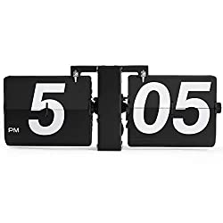 Rejea Flip Wall Clock Mechanical, Digital Bold Number, Wall Mounted or Tabletop, 14.2 x 6.3 x 3.5 in, Auto Flipping Down Cards, Matte Finished for Office, Home, Kitchen (Stainless Steel Black - Large)