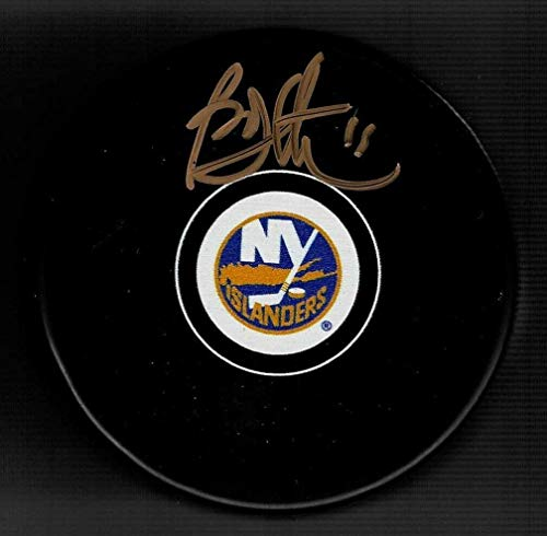 Bryan Trottier Signed New York Islanders Puck Signed In Gold - Autographed NHL Pucks