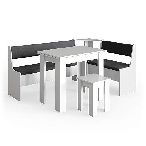 Vicco Eckbankgruppe Roman Esszimmergruppe Eckbank Sitzgruppe Tisch Hocker (Weiß, 180x120cm)