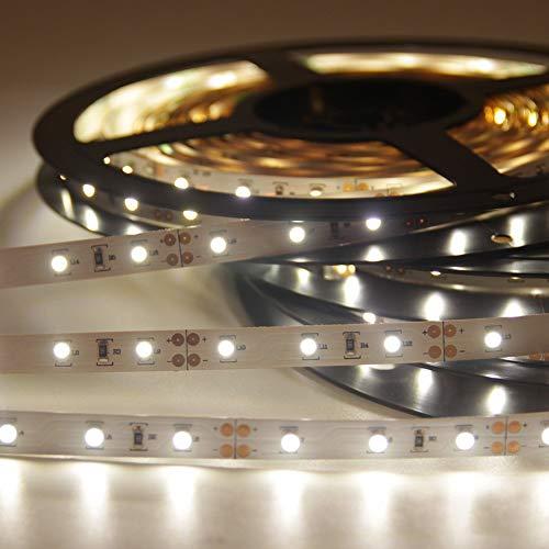 Signcomplex Nastro flessibile LED 3528 SMD LED nastro con nastro adesivo 3M 5m bobina 12V DC (bianco naturale)