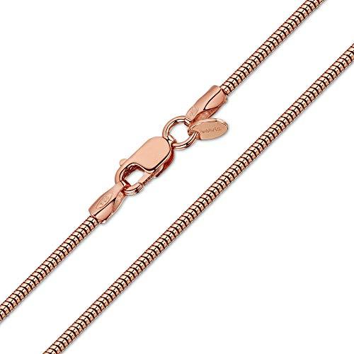 Amberta 925 Sterlingsilber 14k Roségold Damen-Halskette - Schlangenkette - Rattenschwanz-Kette - 1.4 mm Breite - Verschiedene Längen: 40 45 50 55 60 cm (50cm)