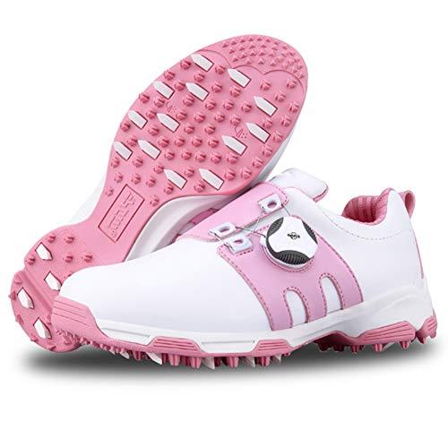 CGBF - Leichte Kinder-Golfschuhe, wasserdicht, rutschfest, Sportschuhe, mit drehbarem Schnürsystem, leicht, bequem, atmungsaktiv, Pink - rose - Größe: 36 2/3 EU