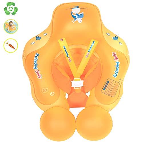 Flotador para bebé, con doble airbag para natación, anillo con bomba, hinchable, 6 meses a 3 años (naranja, L)