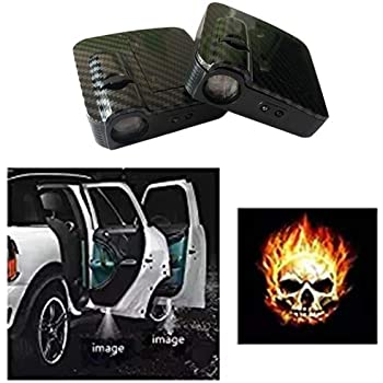 2x WIRELESS LED CAR DOOR WELCOME LOGO PROJECTORS LIGHTS For Flame Skeleton Head