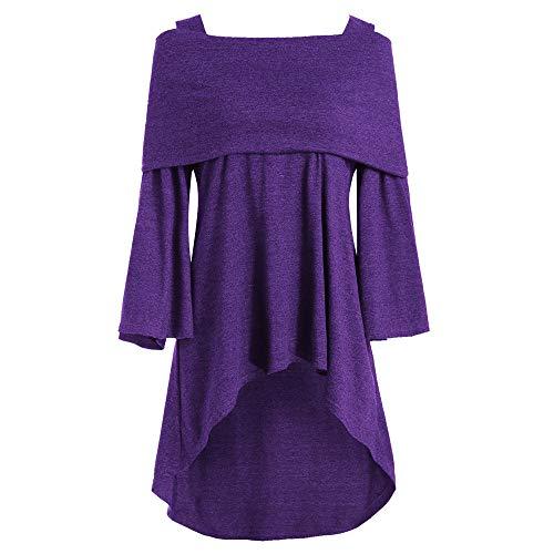 Vrouwen Uit Schouder Blouse Dames Lange Mouw Effen Kleur Elegent Bare Schouder Longline Asymmetrische Lange Vouwen T-Shirt Maat 10-18