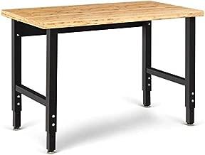 "Moccha Adjustable Workbench, 48"" Work table w/Heavy-duty Bamboo Top, Hardwood Workshop Garage Workstation, Height Adjustable Computer Desk, Work Benches for Garage"