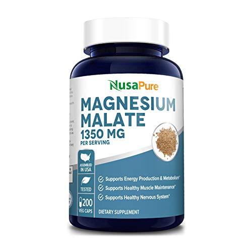 Magnesium Malate 1350 mg 200 Veggie Capsules (Vegan, Non-GMO & Gluten-Free) High Potency - Supports Energy Production, Healthy Metabolism, Healthy Nervous System*