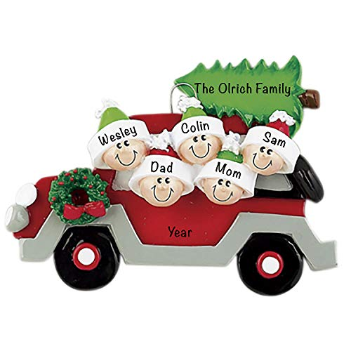 Personalized Christmas Ornaments 2021 – Personalized Car Christmas Tree Family of 5 Ornament for Parents, Kids, Grandparents – Polyresin Christmas Tree Decoration – Durable 2021 Family Ornament