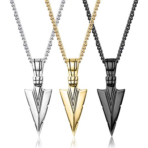 Besteel 3 Pcs Stainless Steel Pendant Necklaces For Men Boys Cool Arrowhead Spearpoint Pendant Chain Necklaces Set