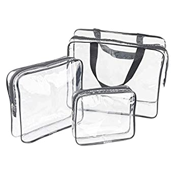3 Pieces Large Clear Travel Bags for Toiletries Waterproof Clear Plastic Cosmetic Makeup Bags Transparent Packing Organizer Storage Bags  Black