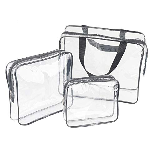 3 Pieces Large Clear Travel Bags for Toiletries, Waterproof Clear...