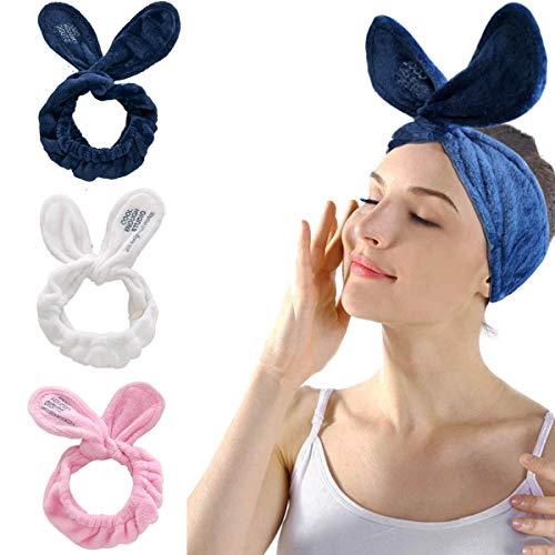 IYOU Spa, fascia per capelli da donna con orecchie di coniglio, fascia per capelli in pile corallo per il lavaggio del viso, asciugamano sportivo da bagno e doccia